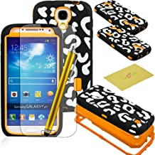 Fulland Deluxe Laser Printed Hard Soft High Impact Hybrid Armor Defender Case Combo for Samsung Galaxy S4 IV I9500 with 1 Screen Protector + 1 Stylus Pen -Leopard Orange
