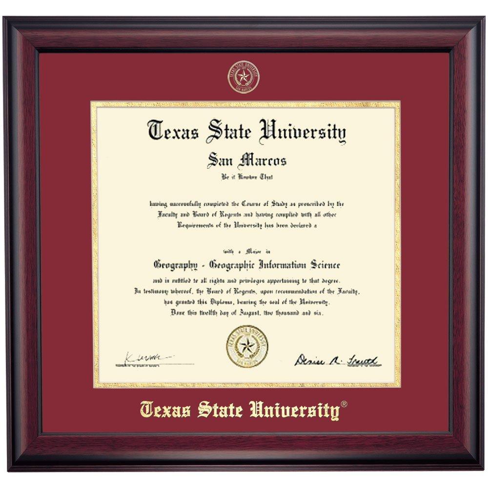 Amazon.com - Campus Linens Texas State Bobcats Diploma Frame Maroon ...