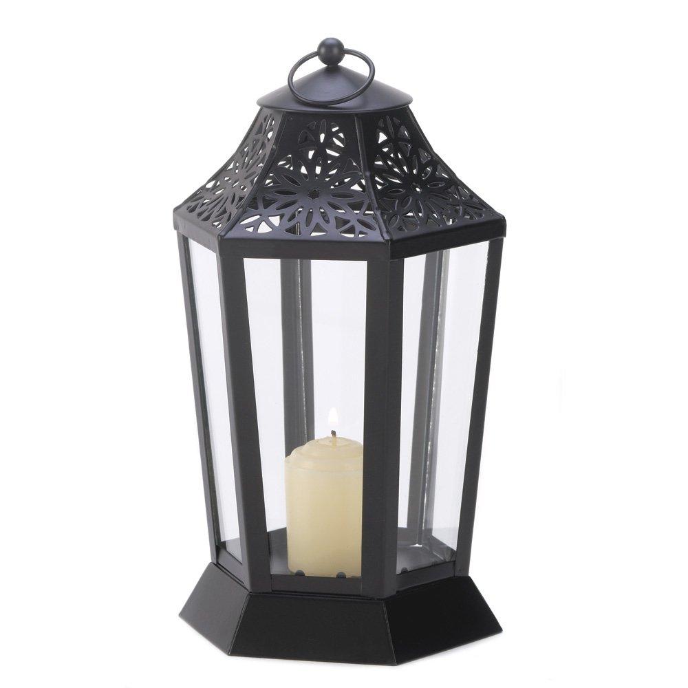 Amazon.com: Gifts U0026 Decor Jet Black Garden Candle Lantern Hurricane Style  Lamp: Home U0026 Kitchen