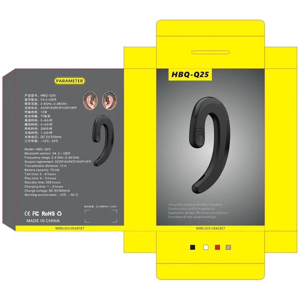 iBaste HBQ-Q25 Universal Auriculares Inalámbrico Bluetooth Negocio con Manos Libres Ear-Hook Earbuds Impermeable Auriculares de Conducción Ósea Auriculares ...