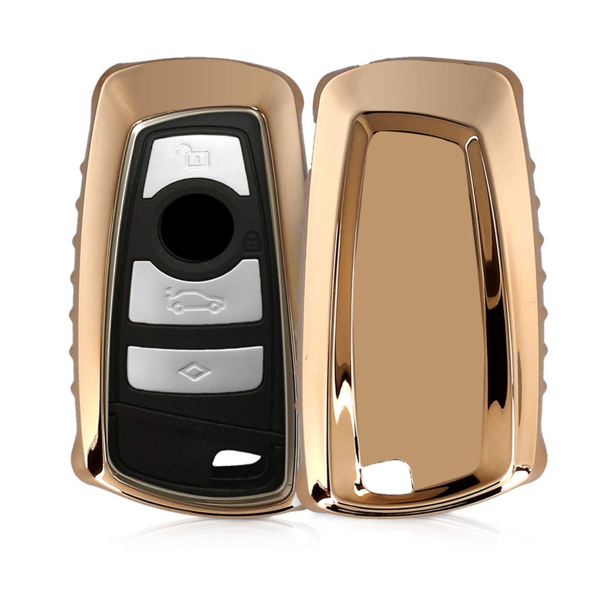 - Cover chiave auto in silicone TPU solo Keyless Go kwmobile Custodia protettiva per chiave con control remoto BMW con 3 tasti Guscio elastico protezione per chiave BMW oro rosa brillante