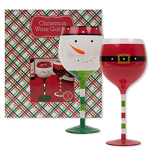 Christmas 16.9 oz Santa Belt and Snowman Wine Glasses (Set of 2) (Santa and Snowman - Glasses Macy's Crystal