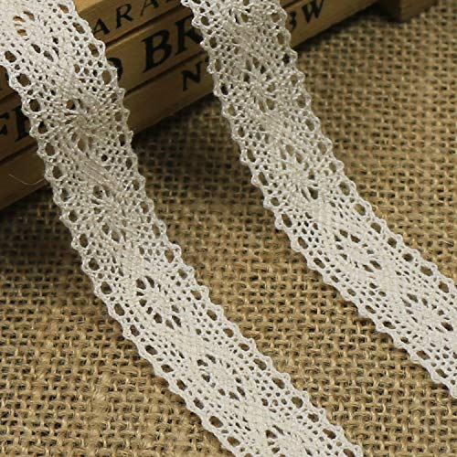 Cotton Lace Trim, Lowki 3/4 inch Beige Lace Ribbon for Scrapbooking Gift Package Wrapping,Crocheted Lace Trim DIY Craft Ribbon,10 Yards