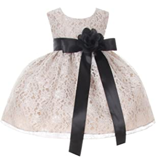 1619f1fafc8 Cinderella Couture Baby Girls  Champagne Lace Flower Girl Dress   Flower  Sash