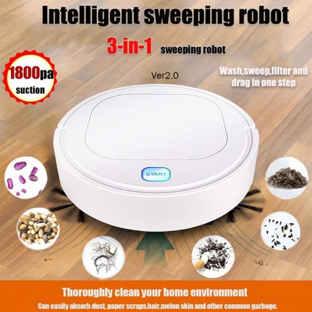 Hankyky Robot Aspirador Inteligente aspiradora Mascota,3 en 1 Robot Aspirador autom/ático y fregasuelos,Aspiradora Robot para Suelos Duros Y Alfombras,USB Recargable,para Mascotas,moqueta