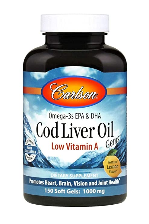 Carlson Labs - bacalao aceite de hígado de gemas bajo vitamina A 1000 mg. -
