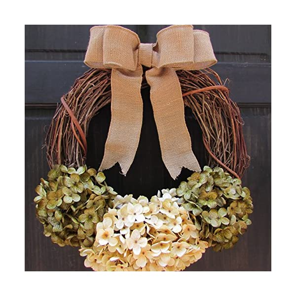 Year Round Faux Hydrangea Grapevine Wreath for Rustic Fall Winter Spring Christmas Holiday Front Door Decor; Green and Cream