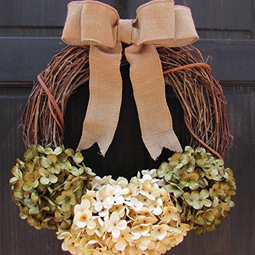 Rustic Artificial Hydrangea Grapevine Summer Spring Year Round Wreath for Front Door Decor; Green and Cream