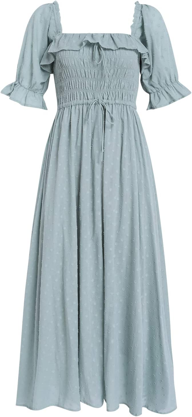 Cottagecore Clothing, Soft Aesthetic R.YIposha Women Vintage Elastic Square Neck Ruffled Half Sleeve Summer Backless Beach Flowy Maxi Dresses $30.99 AT vintagedancer.com