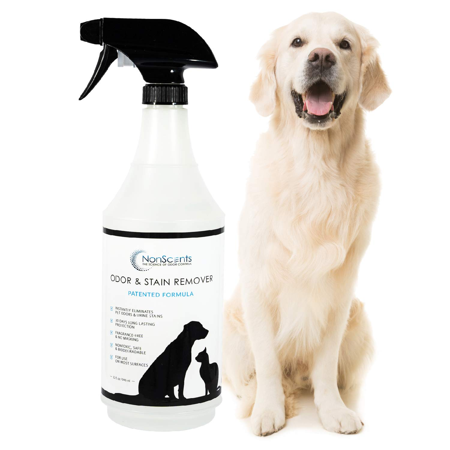 NonScents Pet Odor & Stain Remover Spray - Pet Stain & Odor Eliminator for Dog and