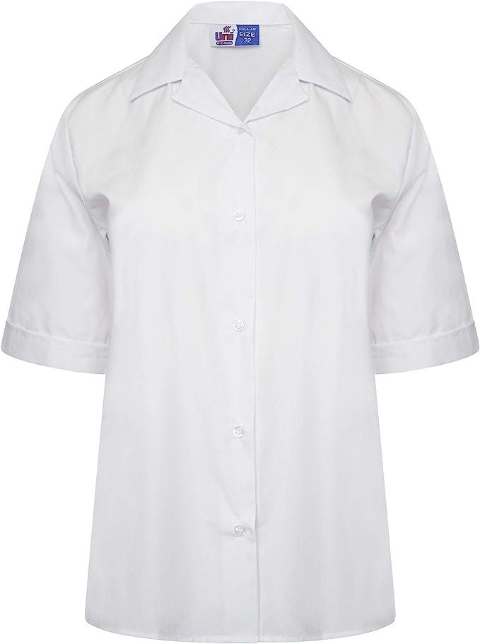Maass - Blusa de Manga Corta para niña, Cuello Revere, Color Blanco