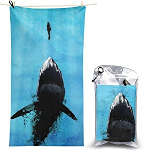 Beach Towels, Shark Quick Dry Towel Blanket, 27.5'' X 51'' Sand Free Towels Absorbent for Bath, Travel, Spa, Swim