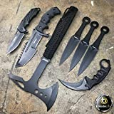 Blade CIty 7 Piece Tactical Knife Set Including a Tomahawk Axe, Karambit, Huntsman Bowie, Spring Assisted Knife and 3 Piece Throwing Knife Set