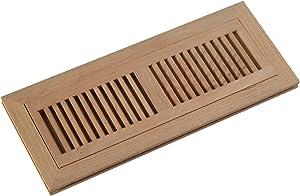 "WELLAND Unfinished 4 Inch x 14 Inch Red Oak Hardwood Vent Floor Register,Flush Mount Vents Register with Frame,3/4"" Thickness"