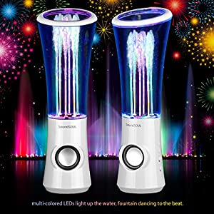 SoundSOUL Dancing Water Speakers LED Speakers Water Fountain Speakers Mini Music Amplifier(6 Colored LED Lights,Dual 3W Speakers,perfect Birthday/Thanksgiving /Christmas Gift for your family) - White