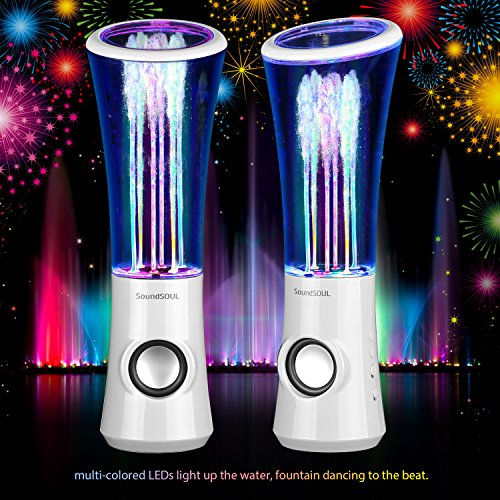 SoundSOUL Dancing Water Speakers LED Speakers Water Fountain Speakers Mini Music Amplifier(6 Colored LED Lights,Dual 3W Speakers,Perfect Birthday/Thanksgiving for Your Family) - White by SoundSOUL (Image #2)