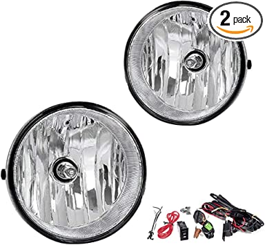 Torchbeam Fog Lights for 2005-11 Toyota Tacoma Replacement Fog Light Assembly for Toyota Solara//Sequoia//Tundra with H10 12V 42W Halogen Bulbs