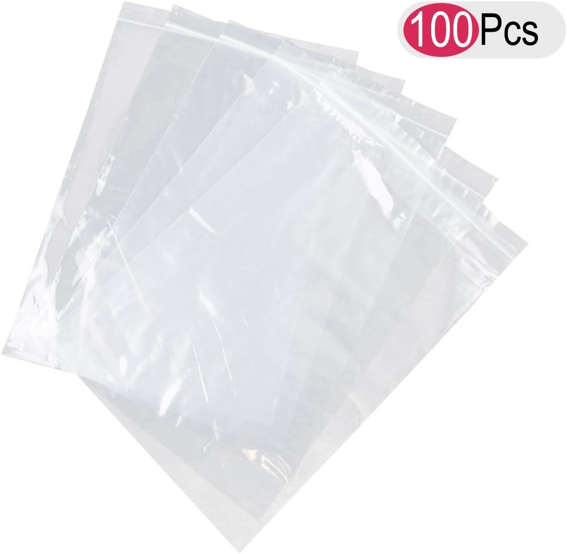 de pl/ástico Bolsas con cierre de zip transparente para alimentos 100 unidades Bestomz 15/x 22/cm