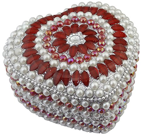 Decorative Red Heart Gift Box (Indian Jewelry Gift Box Red -Handmade Heart Shape Metal and Beaded Decorative Box for Jewelry)