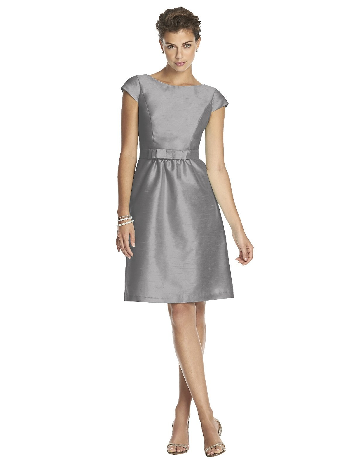 Women's Cocktail Length Dupioni Bateau Neck Dress with Bow by Alfred Sung - Quarry - Size 2