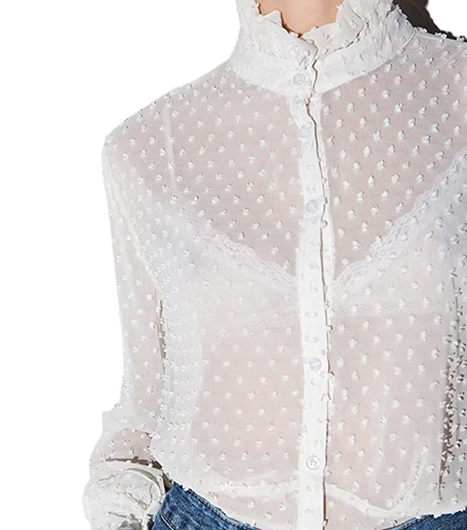 db95419f7 Archie Vince Womens White Victorian Floral Lace High Neck Shirt Blouse at Amazon  Women's Clothing store: