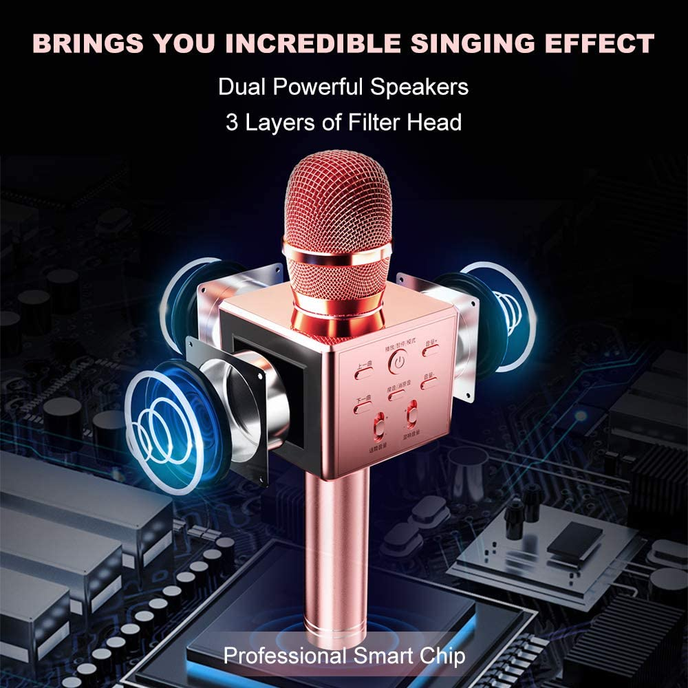 Handheld portable Bluetooth Microphone for Kids Christmas Birthday Gift Rose Gold Upworld Karaoke Microphone Wireless with Speaker//Record Function KTV Player Speaker for iPhone Android /& Pc Devices