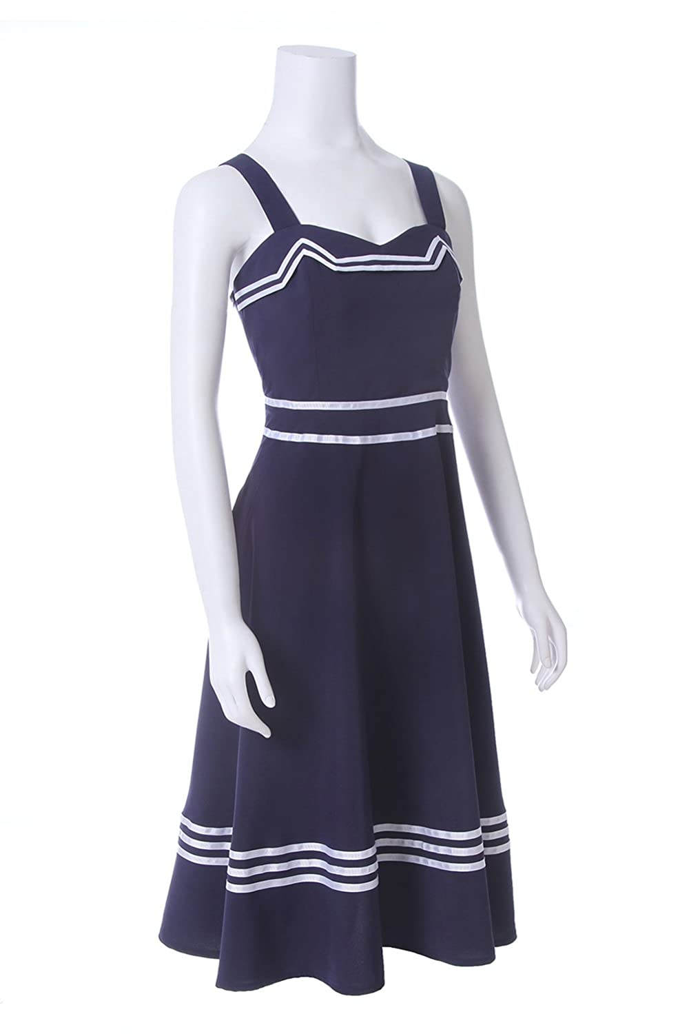 ROLECOS Womens Sailor Dress 1950s Rockabilly Vestido Cocktail Party Dresses Navy Blue at Amazon Womens Clothing store: