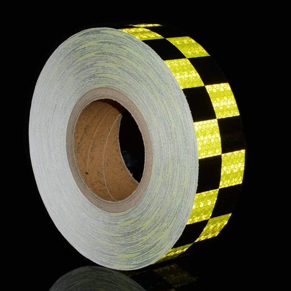 5CM x 3M Reemky Riflettente Nastro di Sicurezza 2x 9.8ft giallo nero notte Avvertimento Attenzione Adesivo Conspicuity Checker Marcatura decal sticker roll film Truck RV