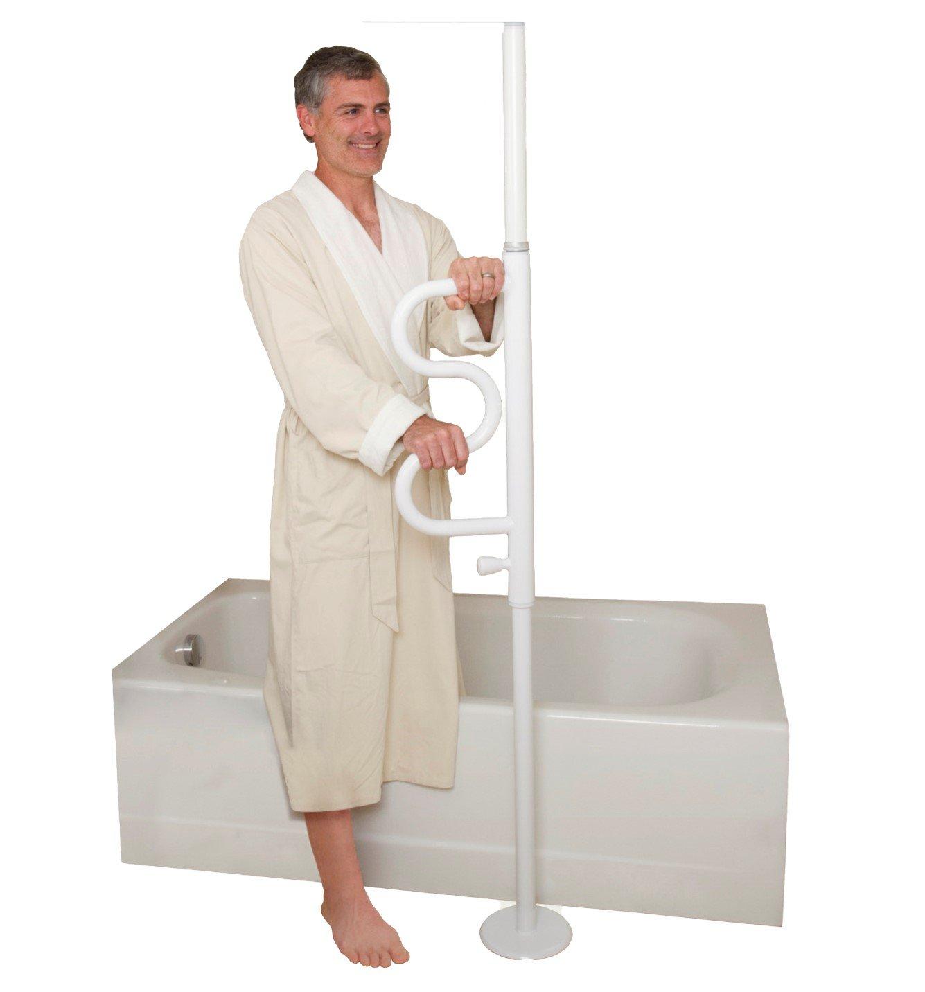 Stander Security Pole & Curve Grab Bar - Elderly Tension Mounted Transfer Pole + Bathroom Assist Grab Bar - Iceberg White by Stander (Image #6)