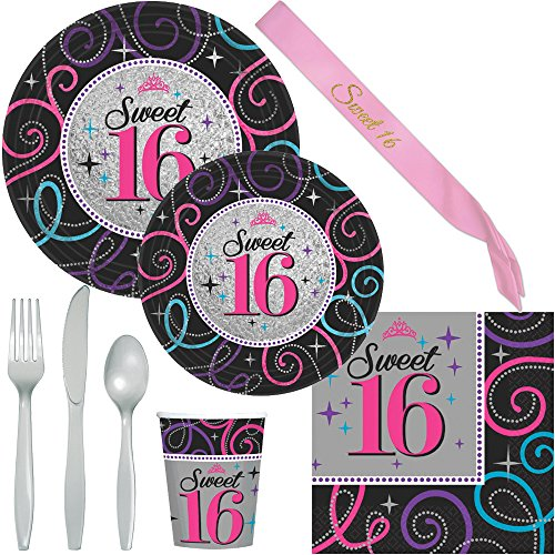Sweet 16 Party Supplies - Plates, Napkins, Silverware, Cups and Pink Sash (Serves 8)
