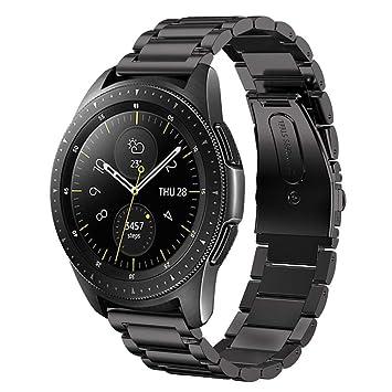 sundaree Compatible avec Galaxy Watch 42MM Bracelet,20MM Noir Bracelet de  Montre Remplacement Bande de