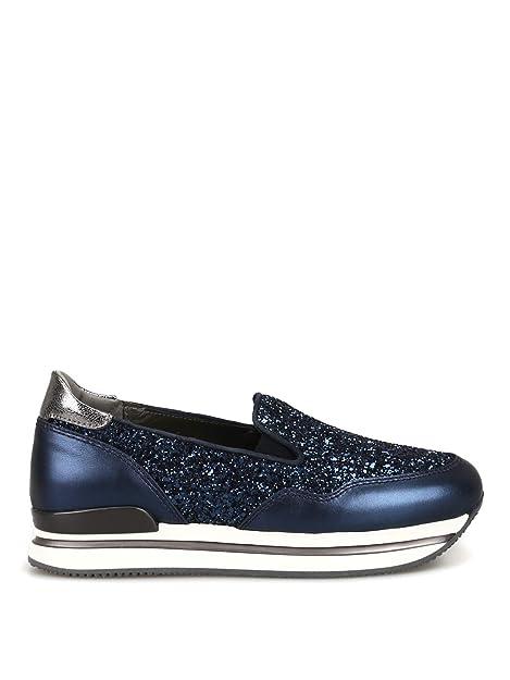 HOGAN scarpe Slip on H222 in Pelle e Glitter