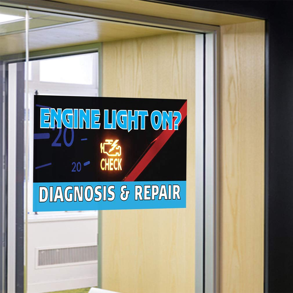Check Diagnosis /& Repair #1 Automotive Engine Light On Decal Sticker Multiple Sizes Engine Light On Check Diagnosis Repair Outdoor Store Sign Black