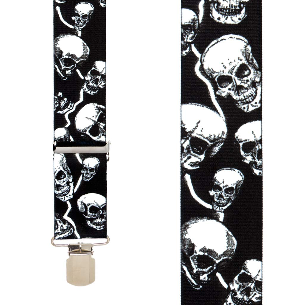 2-Inch Wide Pin Clip SuspenderStore Mens SKULL SUSPENDERS