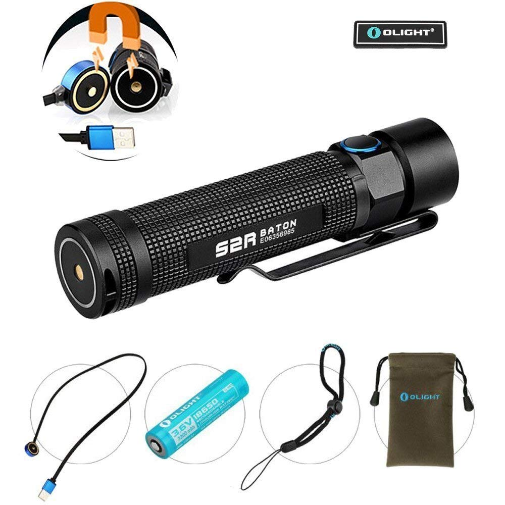 Olight S2R 1020 Lumens USB Magnetic Rechargeable Side Switch EDC LED Flashlight and Olight Patch (S2R)