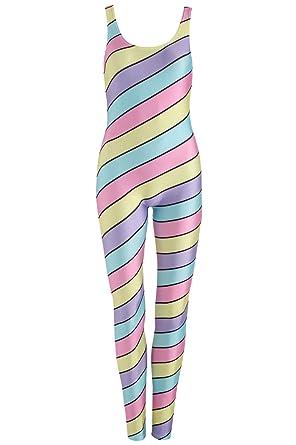 b2b63c50c4e Candy Stripes Unitard Jumpsuit Playsuit Womens Tumblr Pastel Print Kawaii   Amazon.co.uk  Clothing