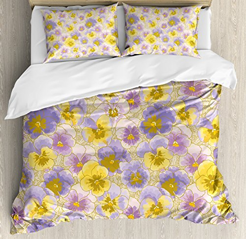 Ambesonne Floral Duvet Cover Set King Size, Hand Drawn Pansy Flowers Garden Botanical Artistic Watercolor Pattern, Decorative 3 Piece Bedding Set with 2 Pillow Shams, Lavander Lilac Yellow