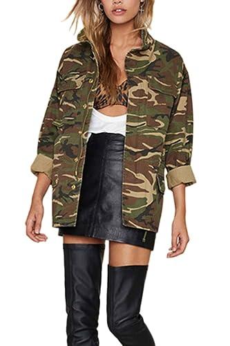 La Mujer Otoño Casual Cremallera Outwear Abrigos Chaquetas De Transición De Estampado De Camuflaje