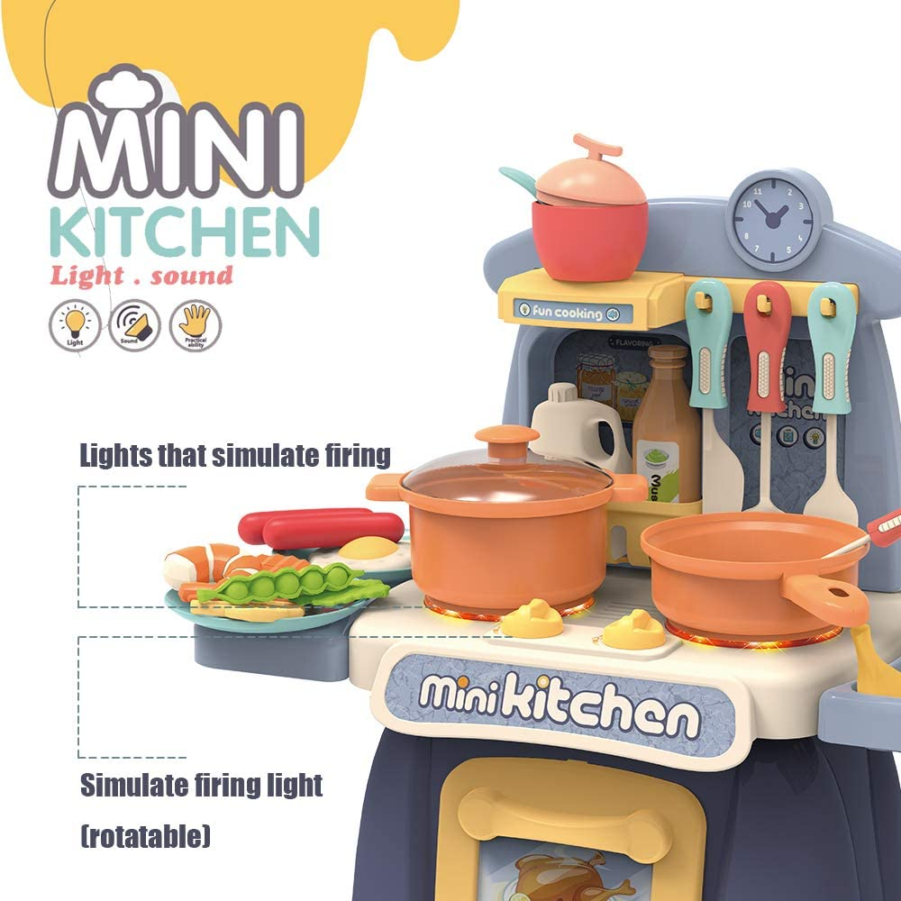 Blue GMAXT Kitchen Toys,K1Kitchen Playset for 38 Pieces,Mini Play Kitchen with Simulate Sounds and Lights,Toddler Toys Companion Suitable for Boys and Girls
