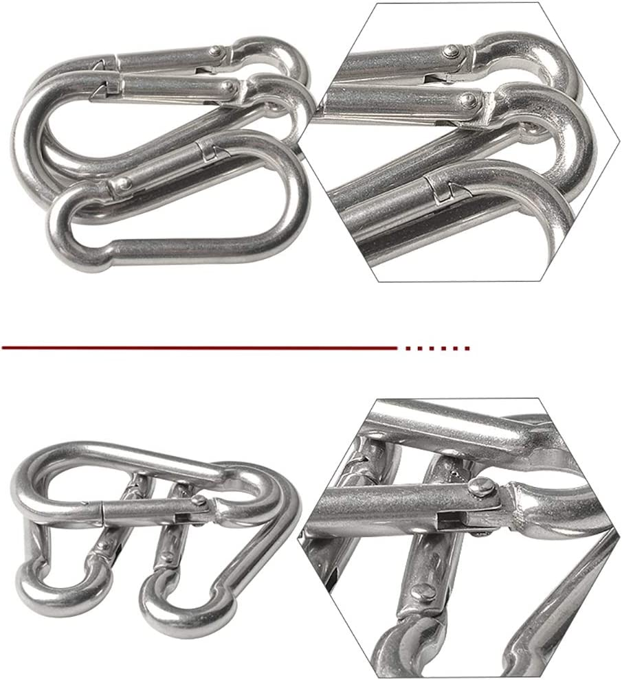 Yimaa 10 Pack Spring Snap Clip Stainless Steel Snap Hook Carabiner Clip Keychain Heavy Duty Quick Link Spring Swing Hooks for Camping Hiking Traveling Fishing Gym Climbing