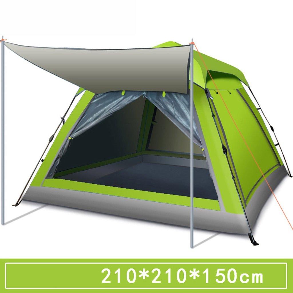 LINGZHIGAN テントアウトドア3人 - 4人キャンプフルオートホームパッド入り防水雨ダブルワイルドキャンプサンディビーチ2人 (色 : Green)  Green B07F4G2ZQL