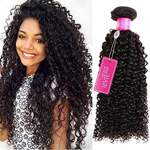 ISEE Hair 9A Grade Mongolian Kinky Curly Hair Extension Virgin Human Hair Weaving 4 Bundles Kinky Curly Virgin Hair 100% Human Hair Weaves Extension Mongolian Virgin Hair (16 16 16 16inches)