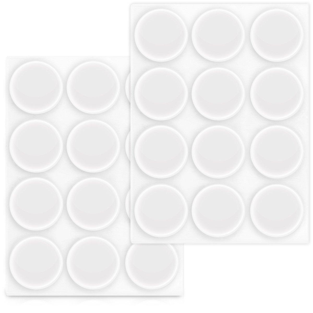 Navaris 24x Tampon élastique en Silicone - Autoadhésif en Silicone pour Les Murs, armoires et Le Verre Ø 22mm - Kit DE 24 butoirs arrête-Portes KW-Commerce 43593_m000820