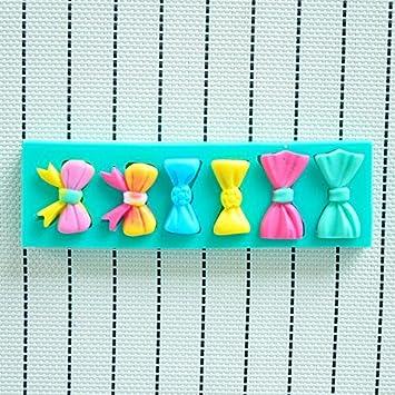 Molde de silicona 3D diseño de 6 moños. Para pastel, pasta de azucar,