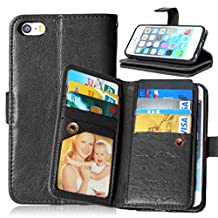 iPhone 5 Case, iPhone 5S Case, Weline Wallet PU Leather Skin Protective Magnetic Folio Flip Cover Credit Card Slots Cash Holder Cover with Built-in 9 Card Slots for Apple iPhone 5/5S/SE- Black
