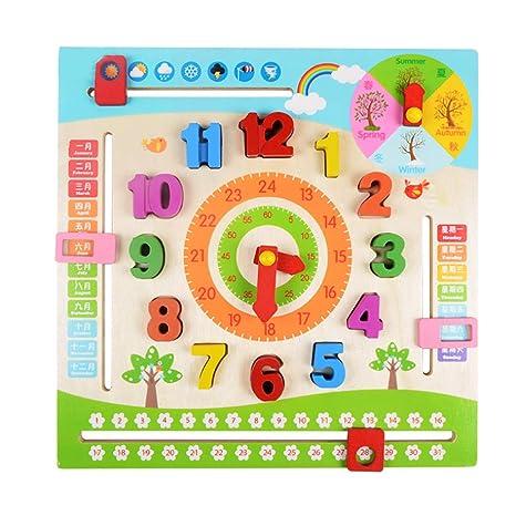 JAGETRADE Reloj Digital de Madera para bebés y niños ...