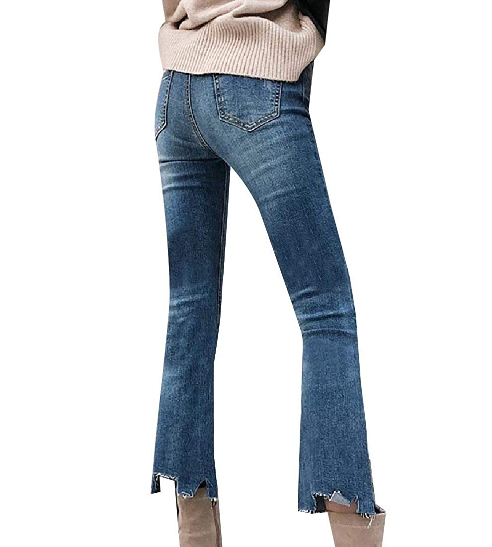 Womens Holes Fringed Washed Comfort Classic Jeans Pants