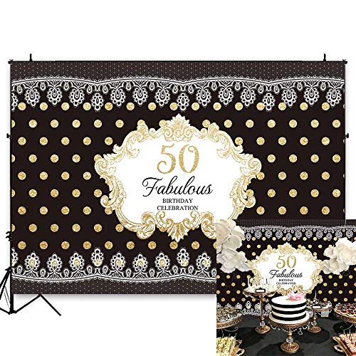 - Funytree 7X5FT Durable Fabric 50th Happy Birthday Party Backdrop Black Fabulous Luxury Lace Gold Polka Dots Patterns Photography Background Poster for Women Custom Banner Photo Booth Studio