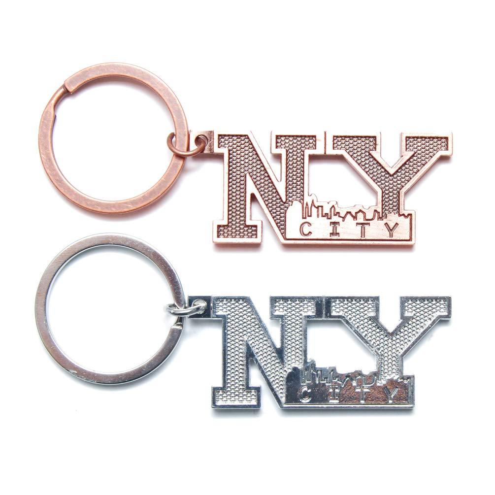 ニューヨーク NYC NY キーチェーン NY 文字 メタルキーリング アメリカ国旗 ニューヨークランドマーク入り NYCお土産 Pack 2 B01N0MK6HF  Pack 2