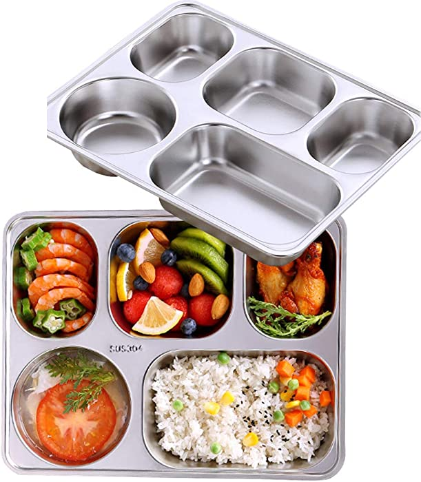 AIYoo Set of 2 Stainless Steel Rectangular Divided Dinner Tray 5 Sections Dinner Plates - 304 SS Great for Adults ,Kids, Picky Eaters, Campers, and for Portion Control